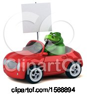 Poster, Art Print Of 3d Green T Rex Dinosaur Driving A Convertible On A White Background