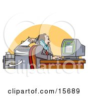 Busy Male Realtor On The Telephone Using A Computer And Putting Paper In A Fax Machine All At The Same Time