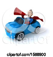 3d White Male Blue And Red Super Hero Driving A Convertible On A White Background