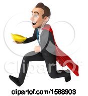 3d Super White Business Man Holding A Banana On A White Background
