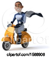 Clipart Of A 3d Black Male Dark Blue Super Hero Riding A Scooter On A White Background Royalty Free Illustration