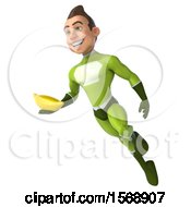 3d White Male Green Super Hero Holding A Banana On A White Background