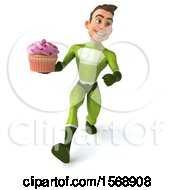 3d White Male Green Super Hero Holding A Cupcake On A White Background