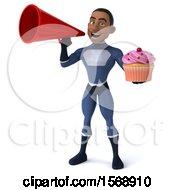 3d Black Male Dark Blue Super Hero Holding A Cupcake On A White Background