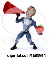 3d Black Male Dark Blue Super Hero Holding A Strawberry On A White Background