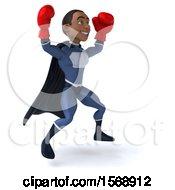 3d Black Male Dark Blue Super Hero Wearing Boxing Gloves On A White Background