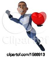 3d Black Male Dark Blue Super Hero Holding A Heart On A White Background