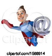 3d White Male Blue And Red Super Hero Holding An Email Arobase Symbol On A White Background