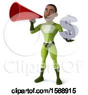 3d Black Male Green Super Hero Holding A Dollar Sign On A White Background
