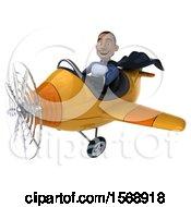 3d Black Male Dark Blue Super Hero Flying A Plane On A White Background