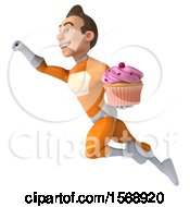 3d Orange Super Hero Holding A Cupcake On A White Background
