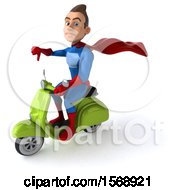 Clipart Of A 3d White Male Blue And Red Super Hero Riding A Scooter On A White Background Royalty Free Illustration