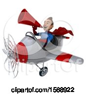 3d White Male Blue And Red Super Hero Flying A Plane On A White Background