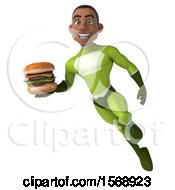 3d Black Male Green Super Hero Holding A Burger On A White Background