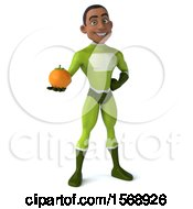 3d Black Male Green Super Hero Holding An Orange On A White Background