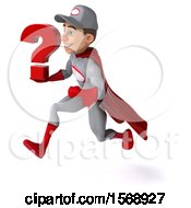 Clipart Of A 3d Super Hero Mechanic In Gray And Red Holding A Question Mark On A White Background Royalty Free Illustration