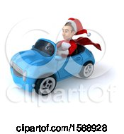 3d Young White Male Super Hero Santa Driving A Convertible On A White Background