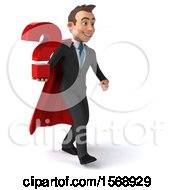 3d Super White Business Man Holding A Question Mark On A White Background