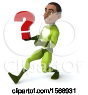 3d Black Male Green Super Hero Holding A Question Mark On A White Background