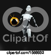 Clipart Of A 3d Feminine Robot Holding A Tv On A Black Background Royalty Free Illustration