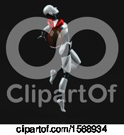 Poster, Art Print Of 3d Feminine Robot Holding A Chocolate Egg On A Black Background
