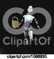 Clipart Of A 3d Feminine Robot Holding A Padlock On A Black Background Royalty Free Illustration