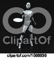Clipart Of A 3d Feminine Robot Holding A Plate On A Black Background Royalty Free Illustration