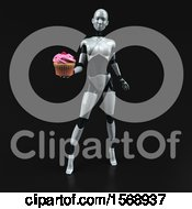 Clipart Of A 3d Feminine Robot Holding A Cupcake On A Black Background Royalty Free Illustration