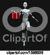 Poster, Art Print Of 3d Feminine Robot Holding A Gift On A Black Background