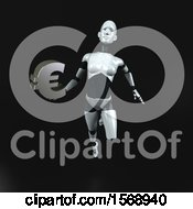 Clipart Of A 3d Feminine Robot Holding A Euro On A Black Background Royalty Free Illustration