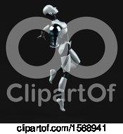 Poster, Art Print Of 3d Feminine Robot Holding A Light Bulb On A Black Background