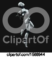 Clipart Of A 3d Feminine Robot Holding A Camera On A Black Background Royalty Free Illustration
