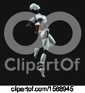 Clipart Of A 3d Feminine Robot Holding A Beer On A Black Background Royalty Free Illustration