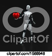 Poster, Art Print Of 3d Feminine Robot Holding A Heart On A Black Background