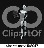 Poster, Art Print Of 3d Feminine Robot Holding A Dollar Sign On A Black Background