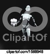 Poster, Art Print Of 3d Feminine Robot Holding A Tooth On A Black Background