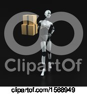 Clipart Of A 3d Feminine Robot Holding Boxes On A Black Background Royalty Free Illustration