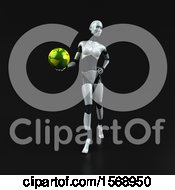 Poster, Art Print Of 3d Feminine Robot Holding A Globe On A Black Background