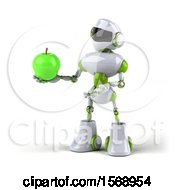 Poster, Art Print Of 3d Green And White Robot Holding An Apple On A White Background