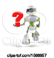 Poster, Art Print Of 3d Green And White Robot Holding A Question Mark On A White Background