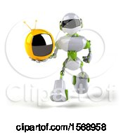 Poster, Art Print Of 3d Green And White Robot Holding A Tv On A White Background