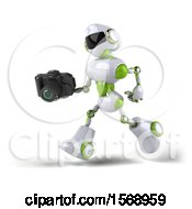 Poster, Art Print Of 3d Green And White Robot Holding A Camera On A White Background