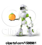 3d Green And White Robot Holding An Orange On A White Background