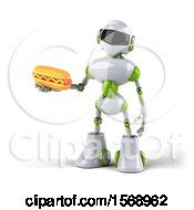 3d Green And White Robot Holding A Hot Dog On A White Background