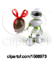 3d Green And White Robot Holding A Chocolate Egg On A White Background