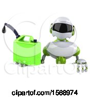 3d Green And White Robot Holding A Gas Can On A White Background