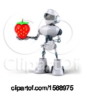 Poster, Art Print Of 3d Blue And White Robot Holding A Strawberry On A White Background