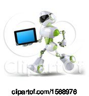 Poster, Art Print Of 3d Green And White Robot Holding A Tablet On A White Background