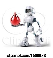 3d Blue And White Robot Holding A Blood Drop On A White Background