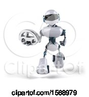 Poster, Art Print Of 3d Blue And White Robot Holding A Car On A White Background
